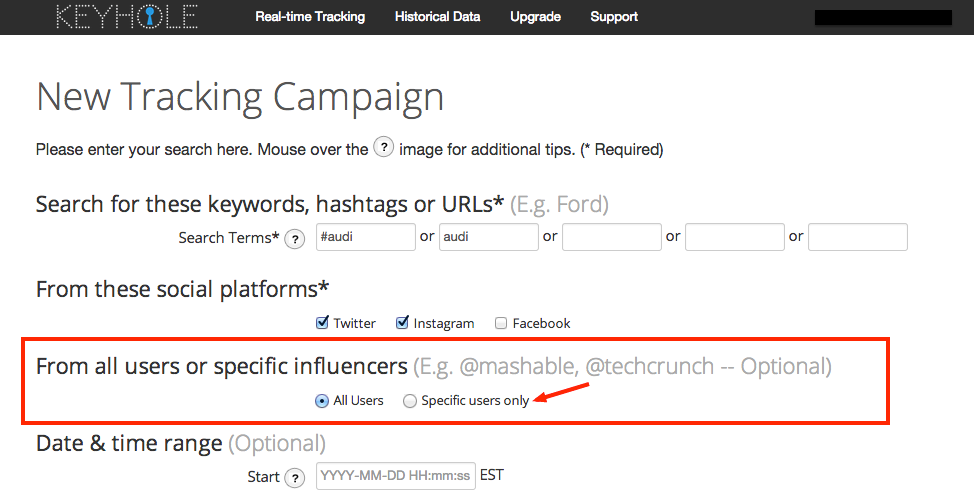 Influencer Tracking - Specific Users