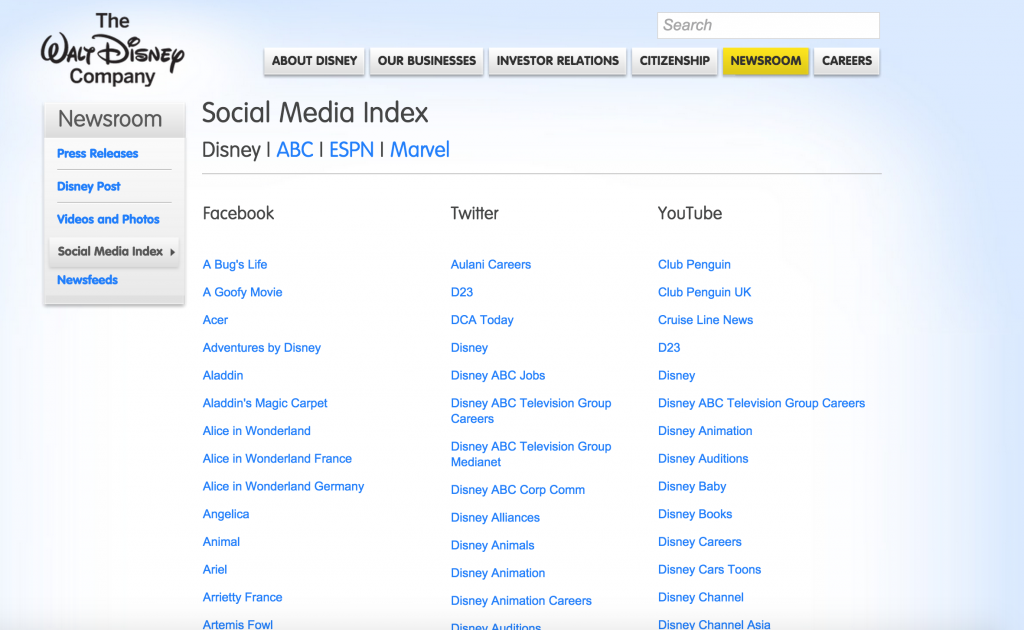 Disney's Global Landing Page with all the social media handles