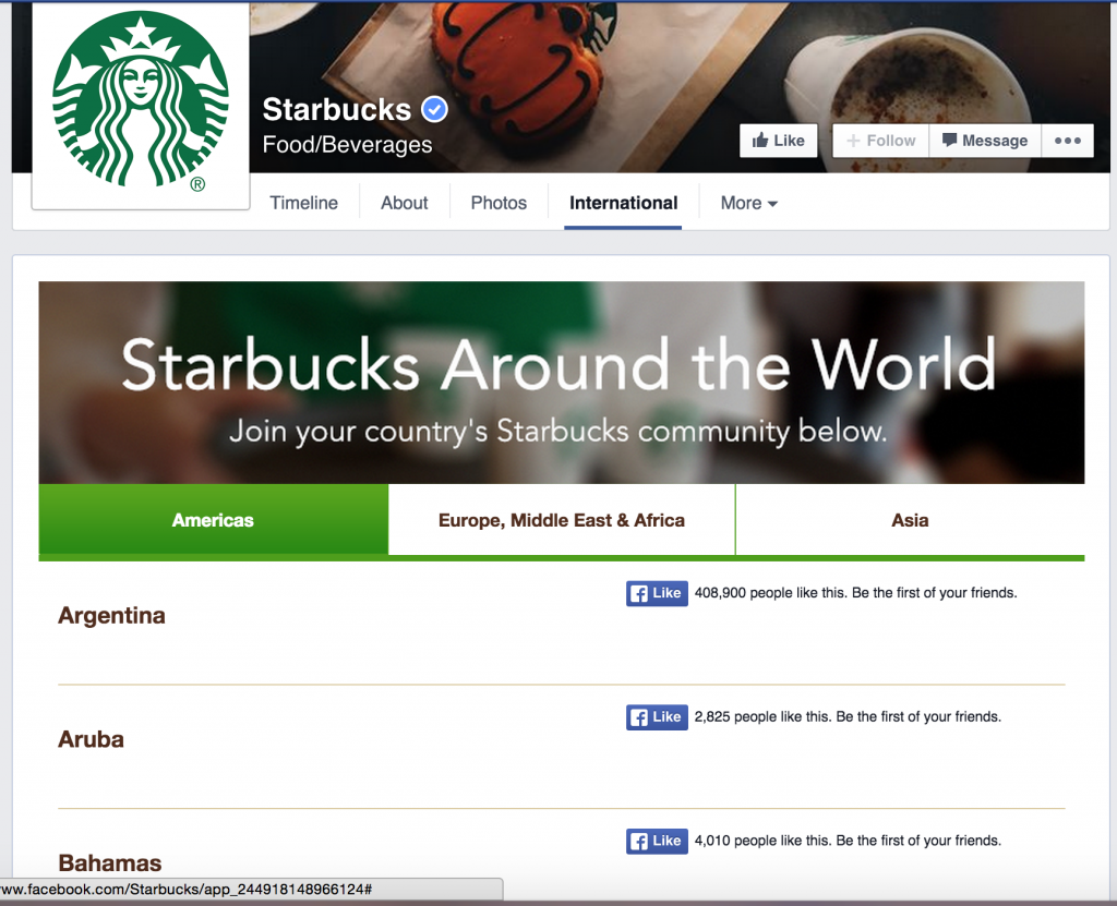 Starbucks Global Facebook Page