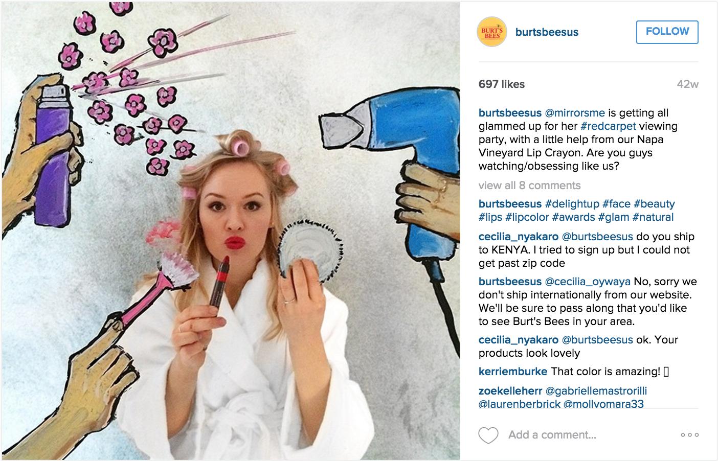 Burtbee's delight instagram campaign