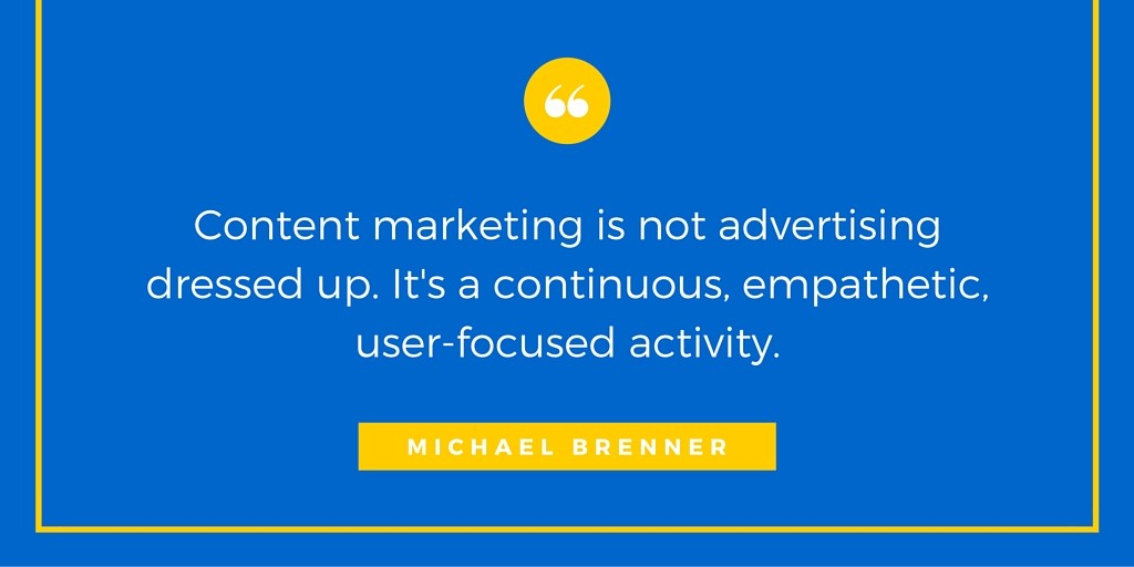 Michael Brenner Quote from Marketing Influencer Interview