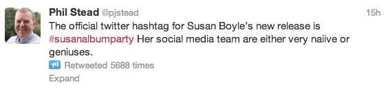 SusanAlbumParty Tweet - 10 Hashtag Trend and Campaign Fails