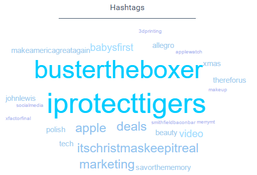 Top hashtags related to holiday ads.