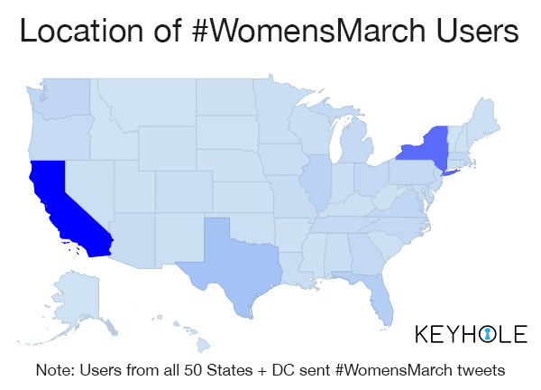 #WomensMarch - Follower's Geographical Location - Keyhole