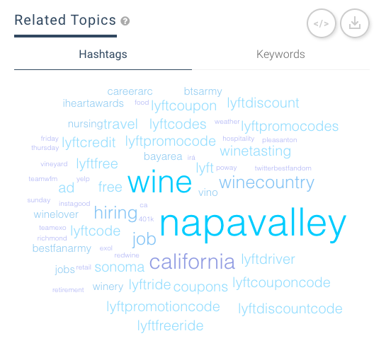 Keyhole's Related Topics word cloud for BottleRock