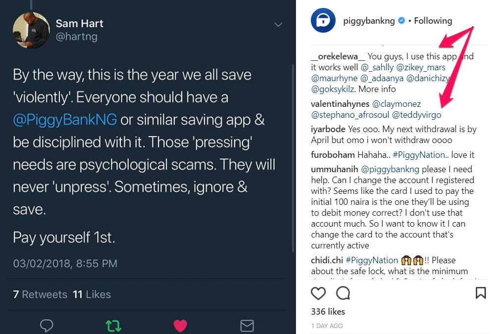 Image of Sam Hart tweeting about 'Saving Violently' using Piggybank