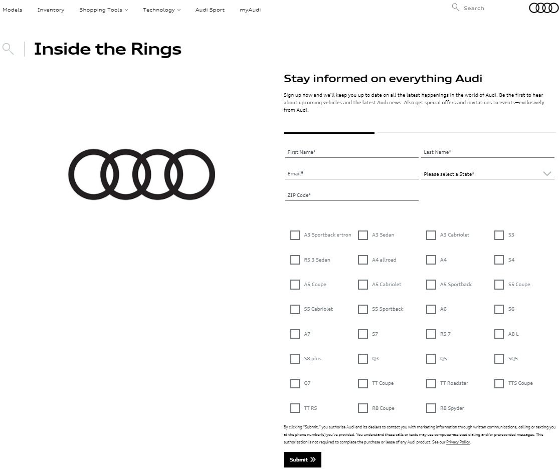 Audi Landing Page - Email Capture