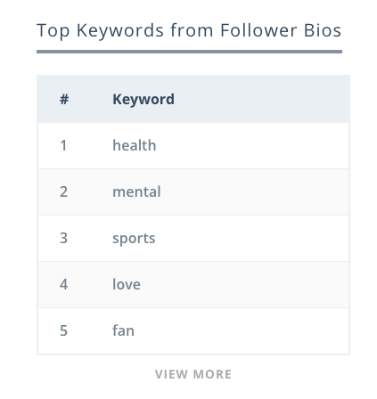Keyhole - Top Keywords from Follower Bios