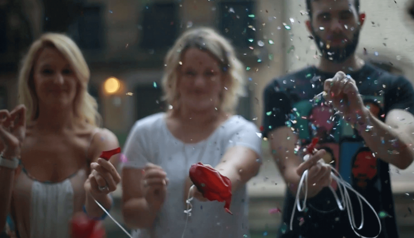 Image of Infinite Agency campaign- 3 People Popping Confetti Balloons