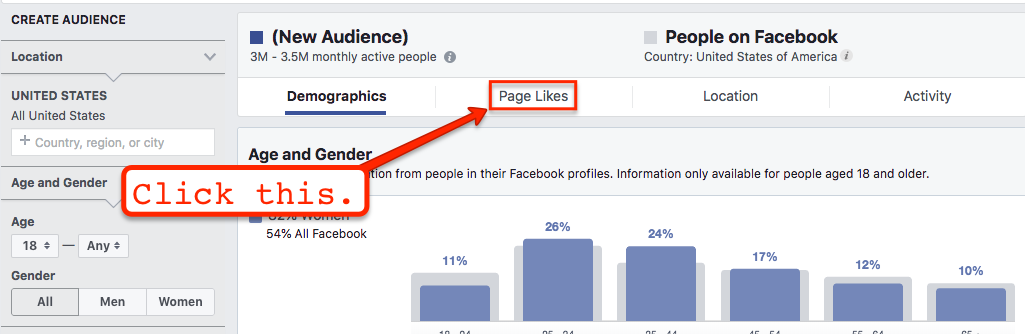 Image of Facebook Audience showing where to click for Page Likes