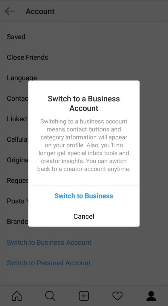 switching to a instagram business account