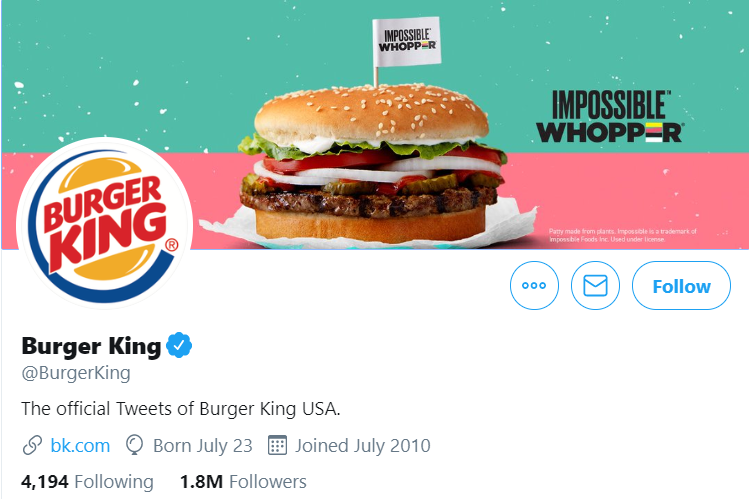 An image of Burger King's Twitter profile showcasing their new product campaign.