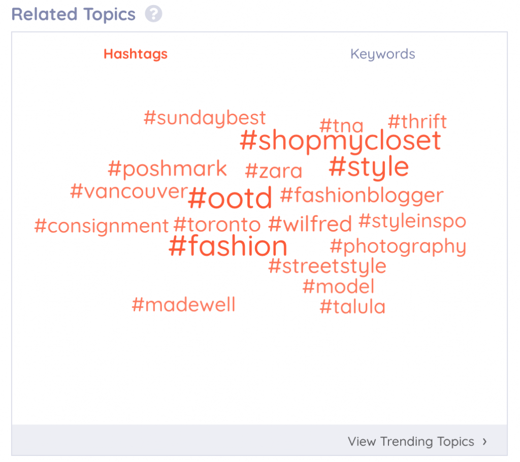 A screenshot of the related topics tool, highlighting the relevant hashtags feature in Keyhole.