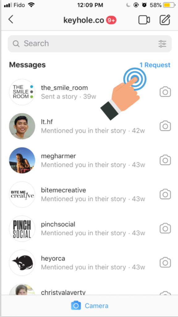 Reaching out to influencers to pitch a marketing campaign through direct messages may be missed. A screenshot indicating how to access direct message requests on Instagram.