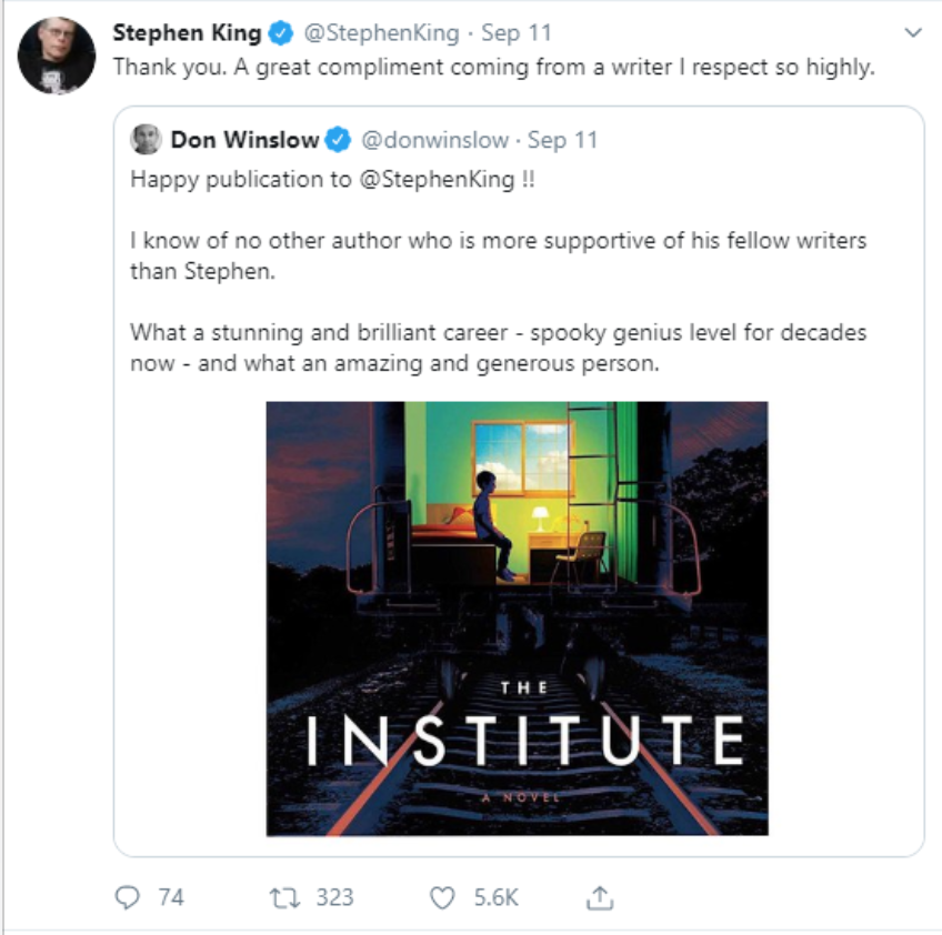 Another example of Stephen King engaging with his followers.