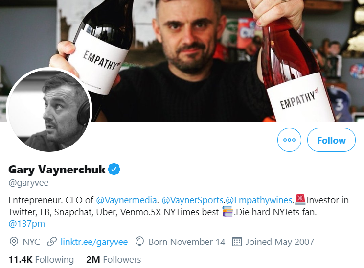 A screenshot of Gary Vaynerchuck's profile.