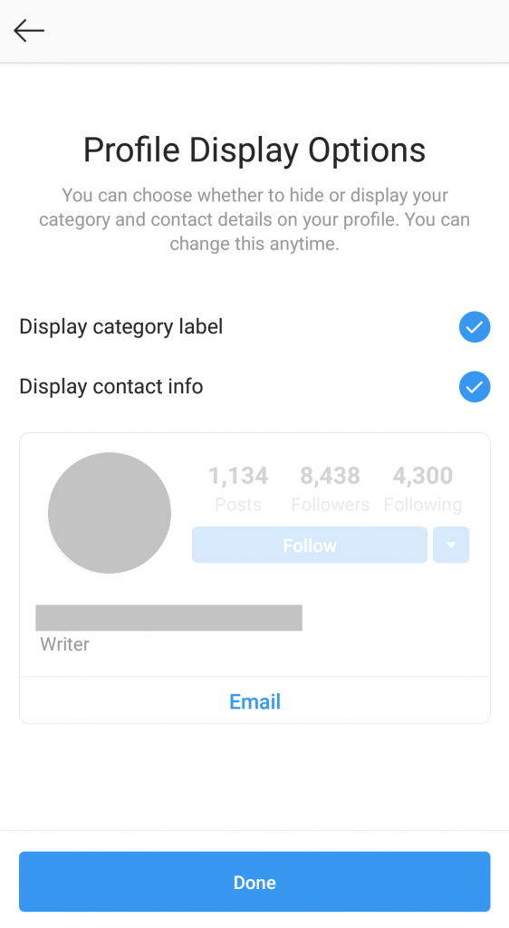 how to become an instagram creator - profile display options
