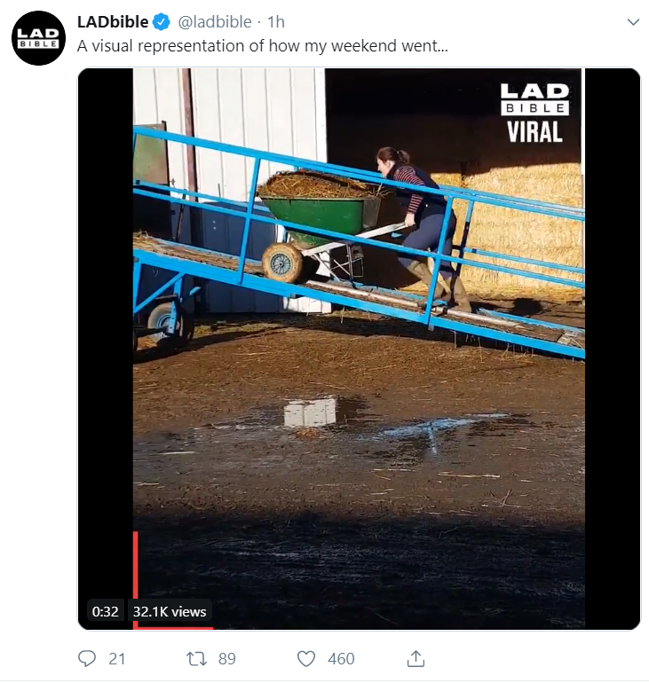A screenshot of a video posted on Twitter by LadBible.