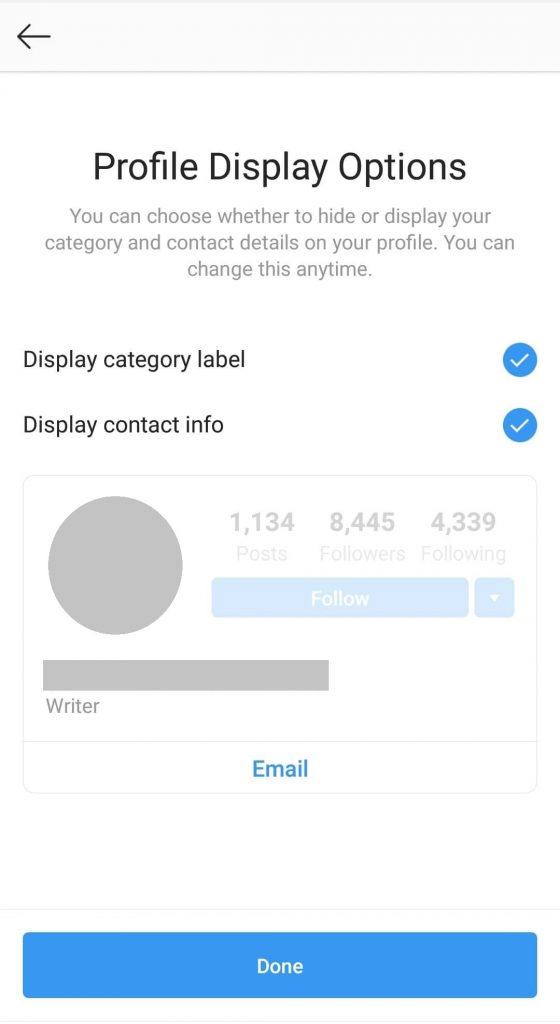 profile display options