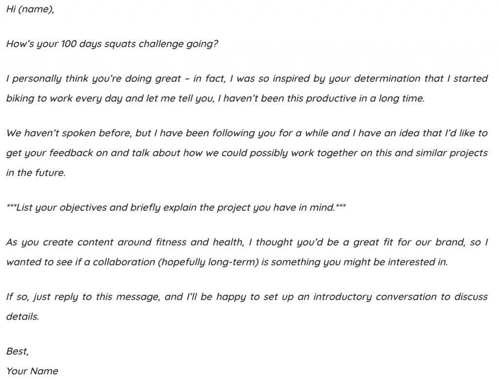 influencer outreach email
