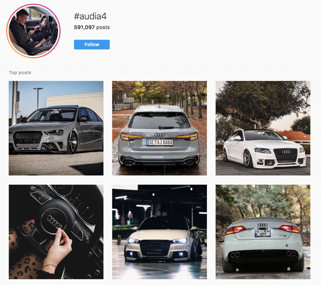 Using Hashtags to Find Influencers on Instagram, Twitter, and Facebook. Using the Audi instagram hashtag to identify influencers who talk about audi.