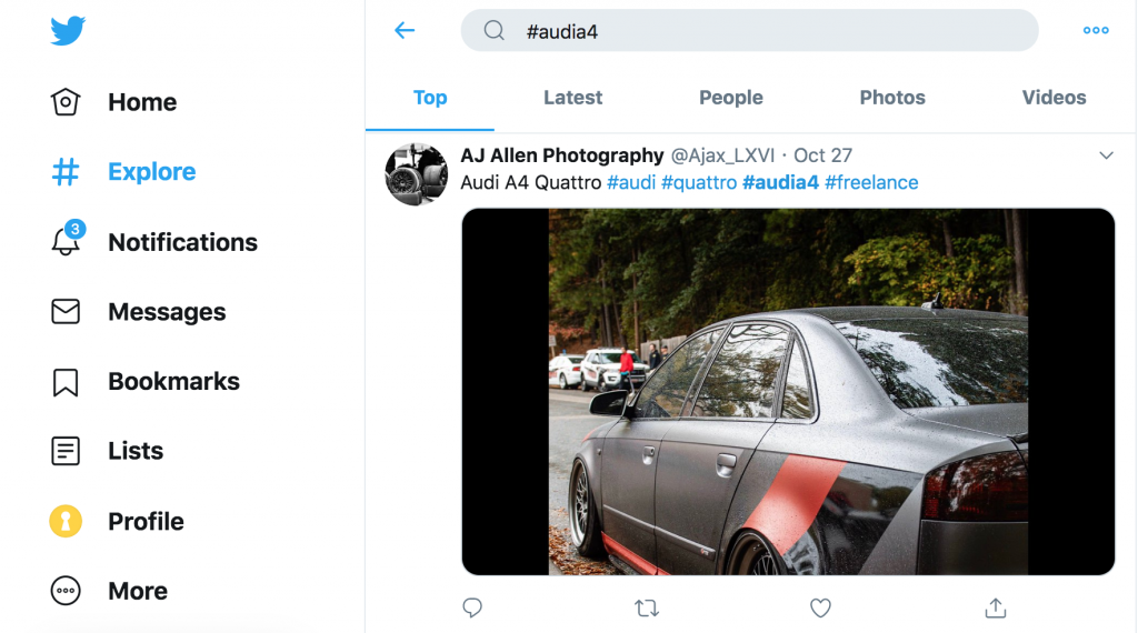 Using the Audi twitter hashtag to identify influencers who talk about audi.