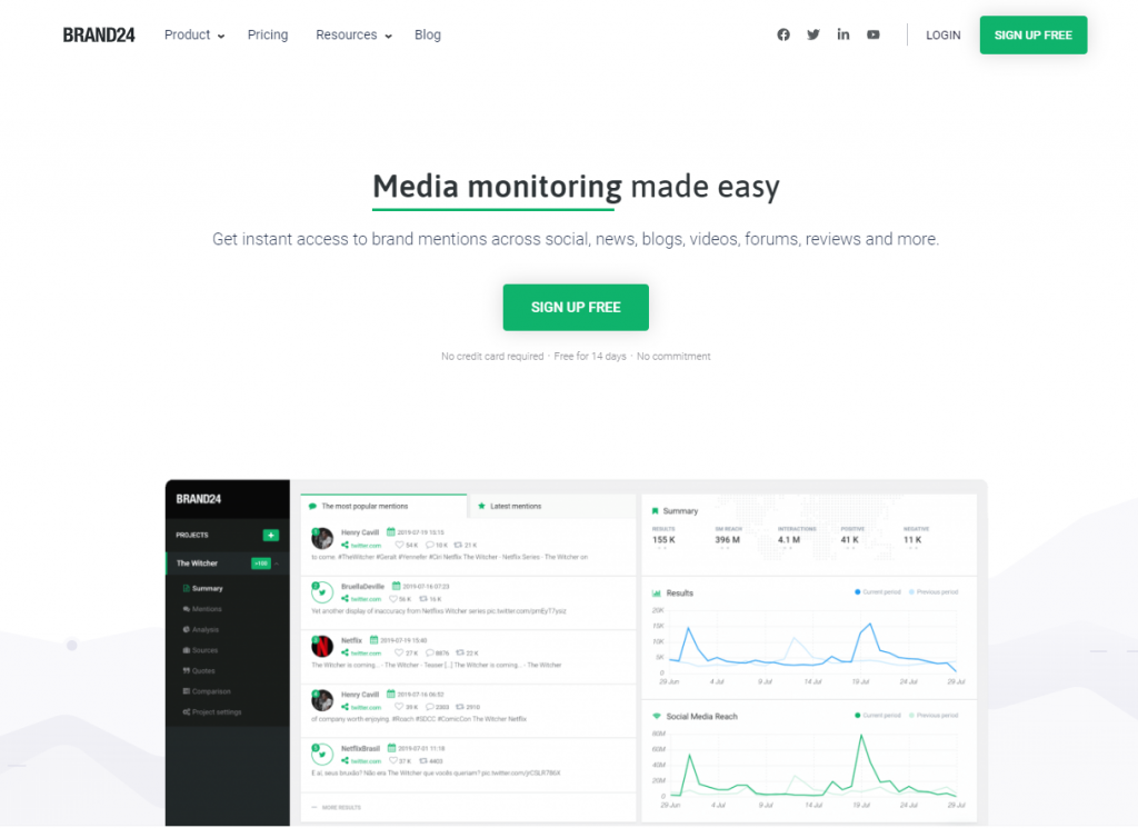 Social Media Tools - Social Listening Tools - Brand24