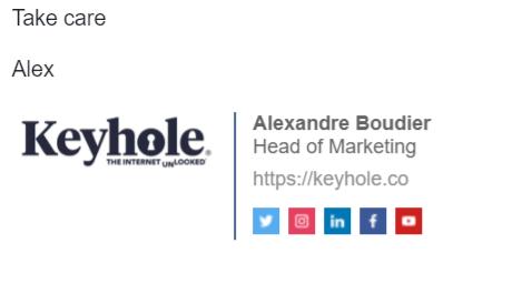 Social Media Icons - Keyhole - Hashtag Tracking - Signature