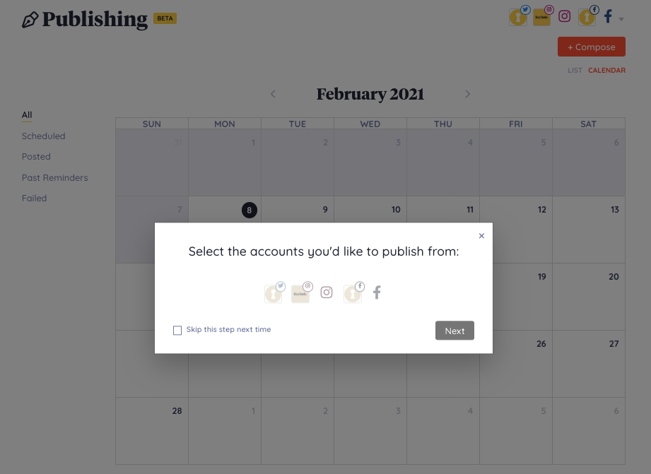 social scheduling - all accounts in one place
