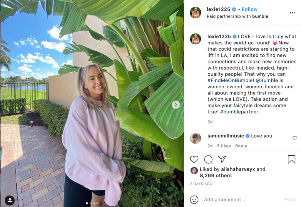 Bumble X Lexie225_ Influencer Partnersnip _ Influencer Marketing in 2021