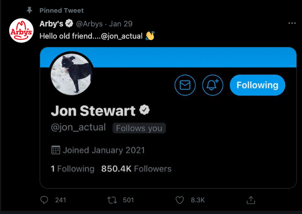 Social listening to surface influencers - Jon Stewart / Arby's