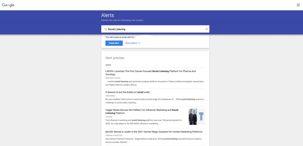 Google Alerts - Social Listening